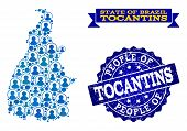 People Collage Of Blue Population Map Of Tocantins State And Scratched Seal Stamp. Vector Seal With  poster