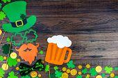 Saint Patrick Day Concept. Paper Patrick Day Leprechaun Props: Green Leprechaun Hat Orange Beard Ora poster