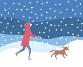 Woman Walking Dog On Leash In Snowfall, Wintertime Activities Vector. Lady Wearing Warming Clothes,  poster