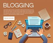 Blogging Concept. Writing Story Book And Blog Articles. Writer Journalist Copywriter Type On Laptop  poster