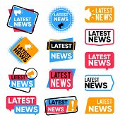Latest News Labels. Information Banners With Promotional Words. Newsletter Announcement Vector Badge poster