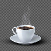 White Realistic Coffee Cup With Smoke Isolated On Transparent Background. Coffee Cup Beverage, Cafe  poster