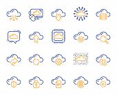 Cloud Data And Technology Line Icons. Set Of Hosting, Computing Data And File Storage Icons. Archive poster