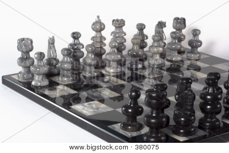 Chess Pieces - White Team At Angle