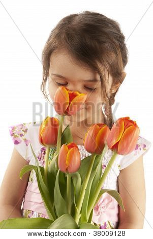 Girl With Tulipa