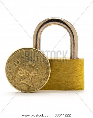 Pound Coin And Padlock Isolated On White Background