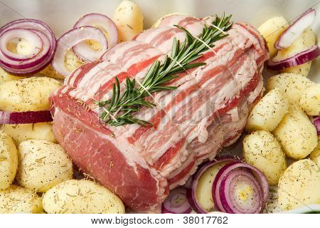 Fresh Roast Of Veal With Rosemary And  Potatoes