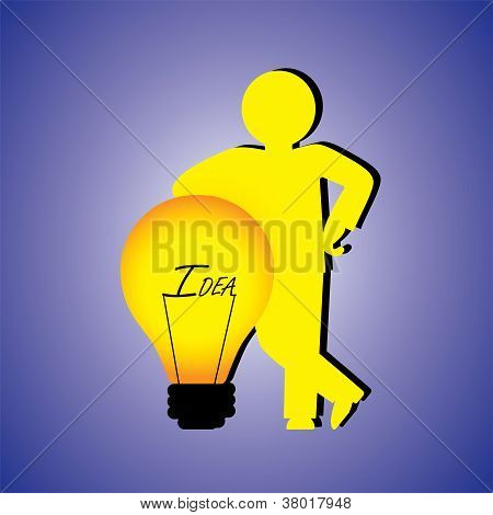 Concept Illustration Of Person With Creative Ideas. The Graphic Contains A Professional Person