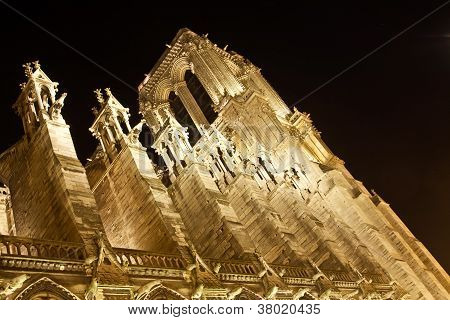 Notre Dame's Towers at Night