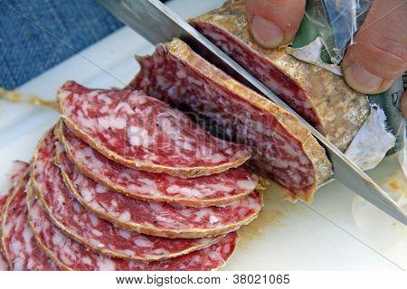 Slices Of Tasty Salami Slice