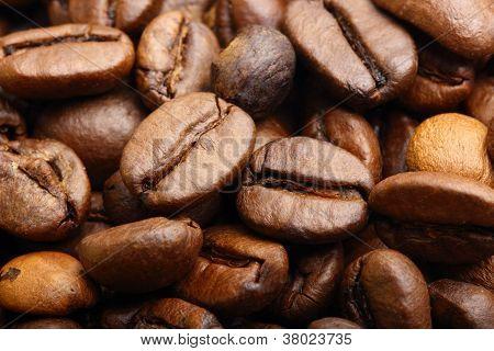 Macro Shot Of Roasted Coffee Beans