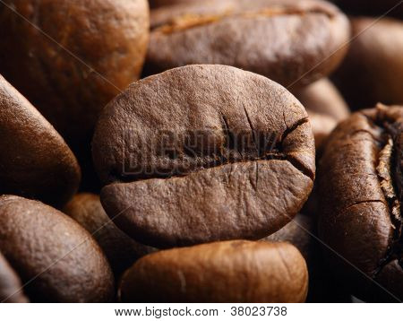 Macro Shot Of A Roasted Coffee Bean