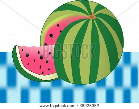 vector watermellon on picnic table