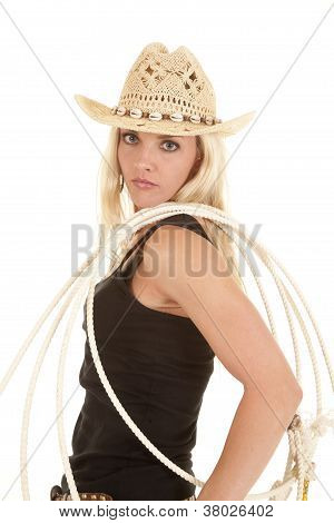 Woman Rope On Shoulder Cowgirl Hat Serious