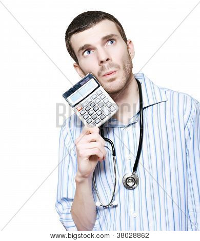 Isolated Doctor Counting Financial Cost Of Health