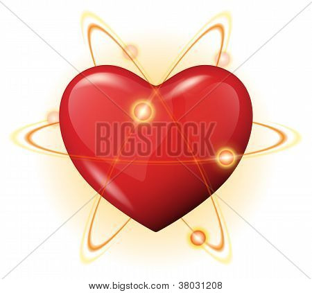 3D Heart Protection Vector Icon - Atom Power