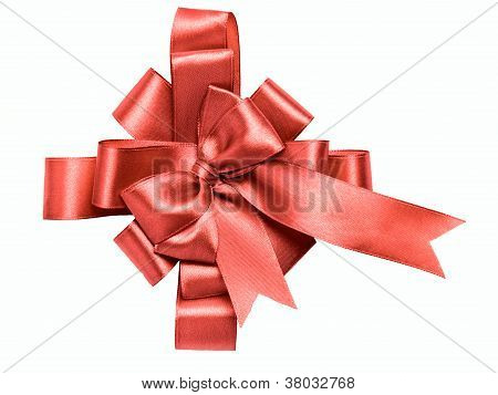 Award Red Bow Made Of Ribbon