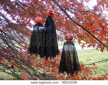 Three Pumpkin Ghosts