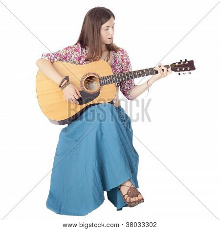 Girl With A Guitar Sitting On A White Floor , Isolated
