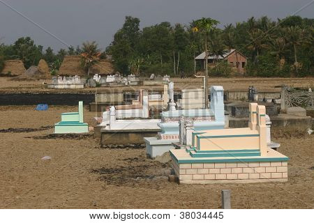 Traditional graves in the Vietnamese countryside