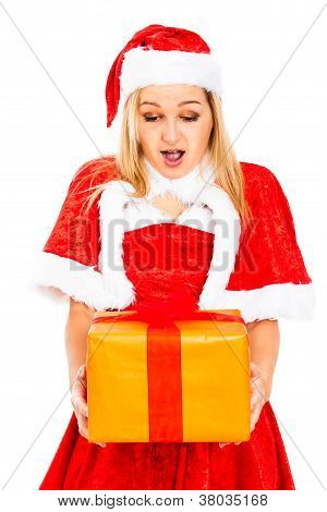 Surprised Female Santa With Christmas Gift