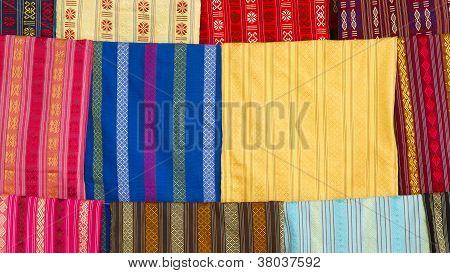 Silk Scarfs On Display In A Silk Factory
