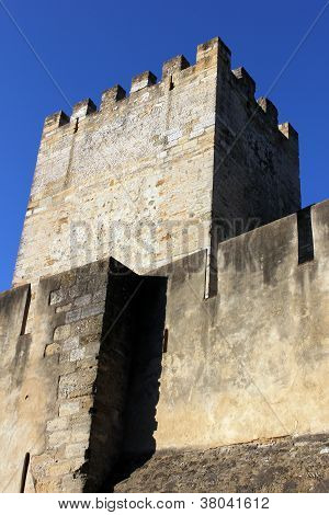 Detail of the Saint George's Castle at Lisbon, Portugal