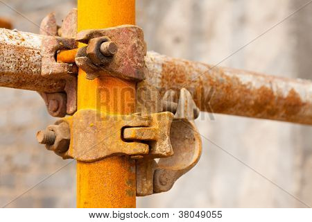 Rusty Scaffold In A Construction Site