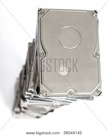 High Stack Of Used Hard Drives