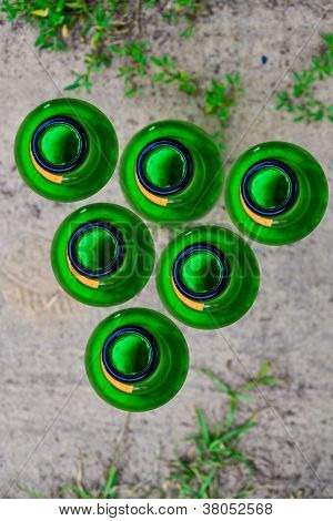 green bottle top view