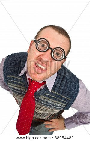 Funny Nerd, Isolated On White Background