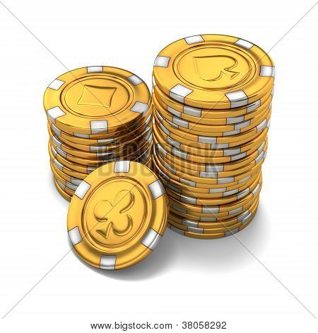 Small Group Of Gold Poker Chips On White