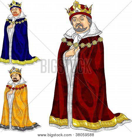 Vector Cartoon King In Three Colors