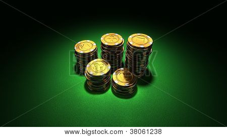 Medium Group Of Gold Poker Chips On Green
