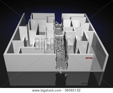 3D Illustration of a Maze with direct route cut through it