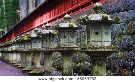 Stone lanterns at Toshogu Shrine, Nikko, Japan
