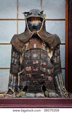 TAKAYAMA, Japão - 26 de março: Vintage ninja suit em Takayama, Japão em 26 de março de 2012. Bem conservado