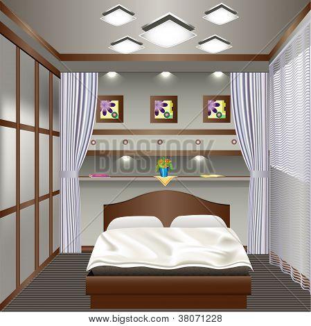 Innenraum Schlafzimmer mit einem Fenster mit Vorhängen