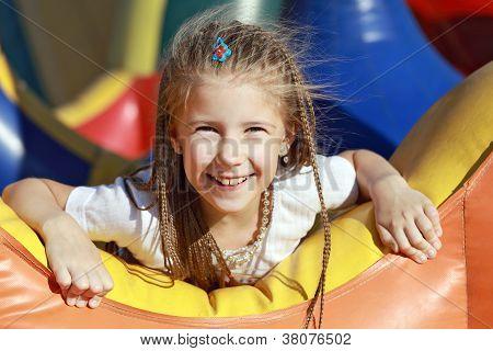 Happy Girl On Carousel