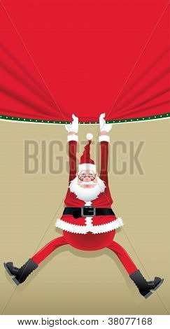 Santa Claus hanging from a poster