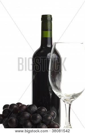 Wine bottle, grape and glass