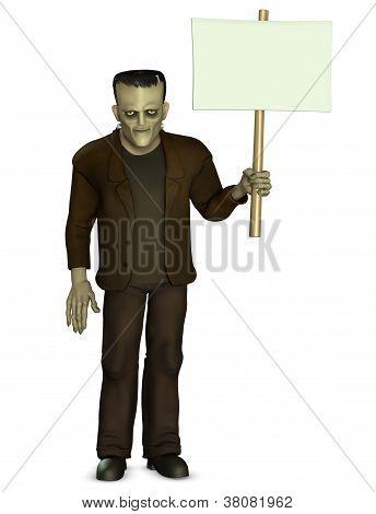 Frankenstein Holding Placard