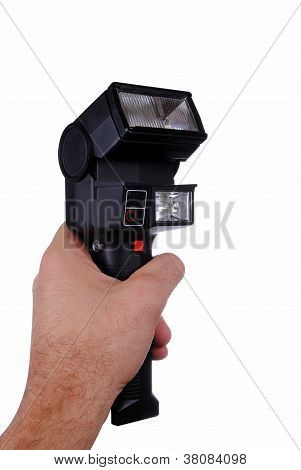man hand with a double head flash