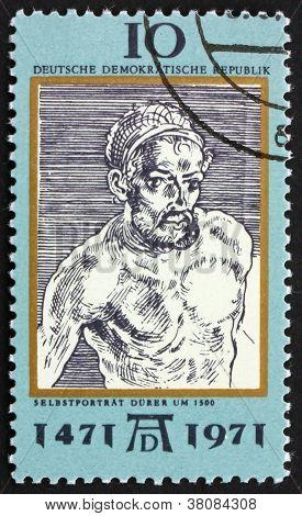 Postage Stamp Ddr 1971 Self-portrait, By Albrecht Durer