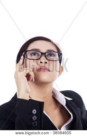 Business-woman-looking-up-isolated-in-white