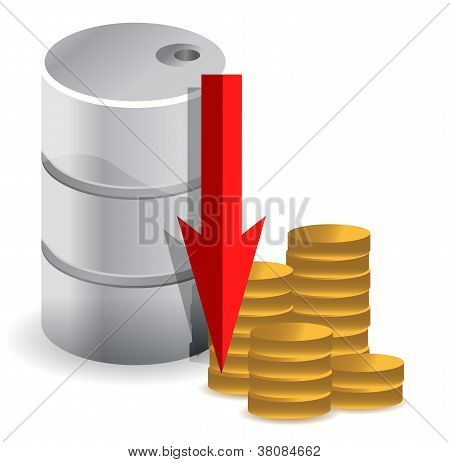 Oil Prices Falling Illustration Design Concept