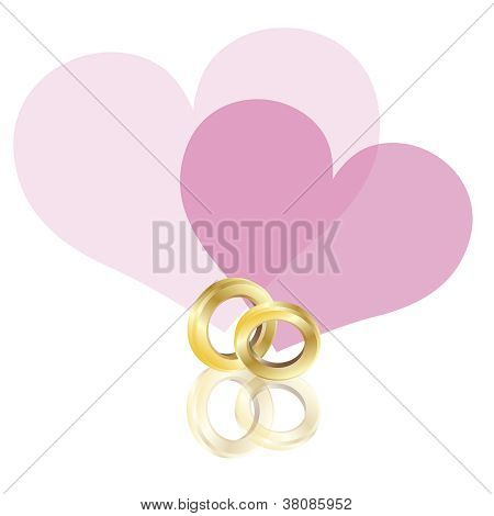 Wedding Rings Gold Band With Hearts Illustration