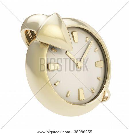 Arrow Around The Clock Emblem Isolated On White
