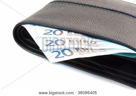 Euro-Banknote in Leder Brieftasche