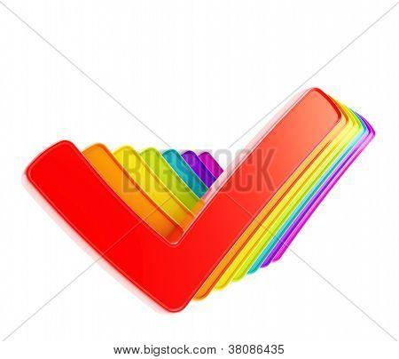 Fila de la cola de color arco iris Compruebe sí garrapatas aisladas